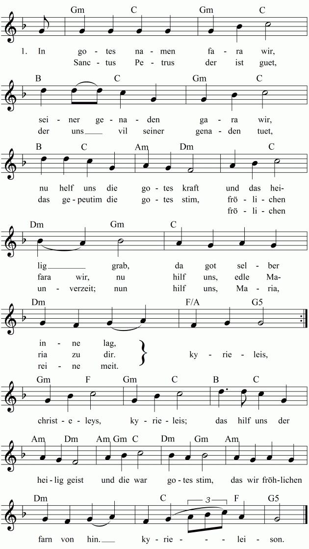 Musiknoten zum Lied In gotes namen fara wir