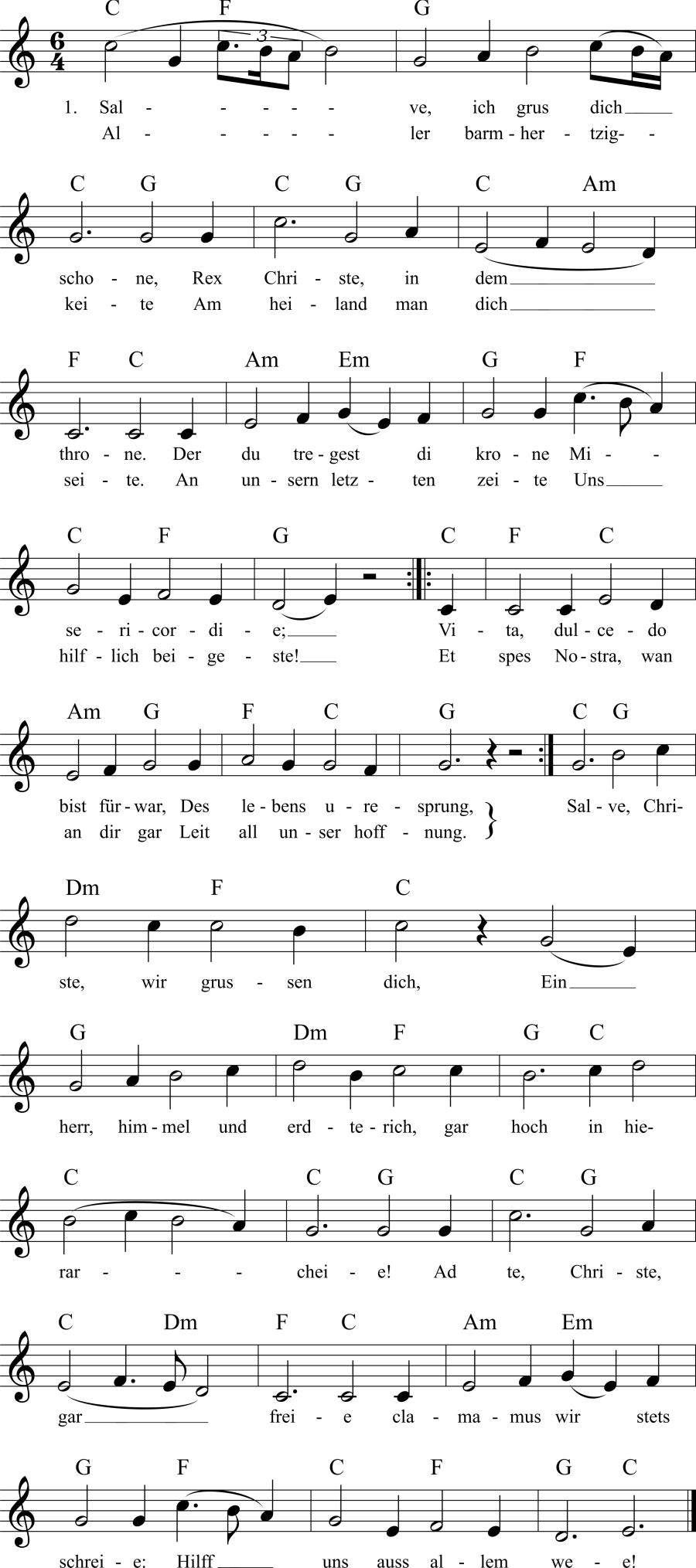 Musiknoten zum Lied Salve, ich grus dich schone