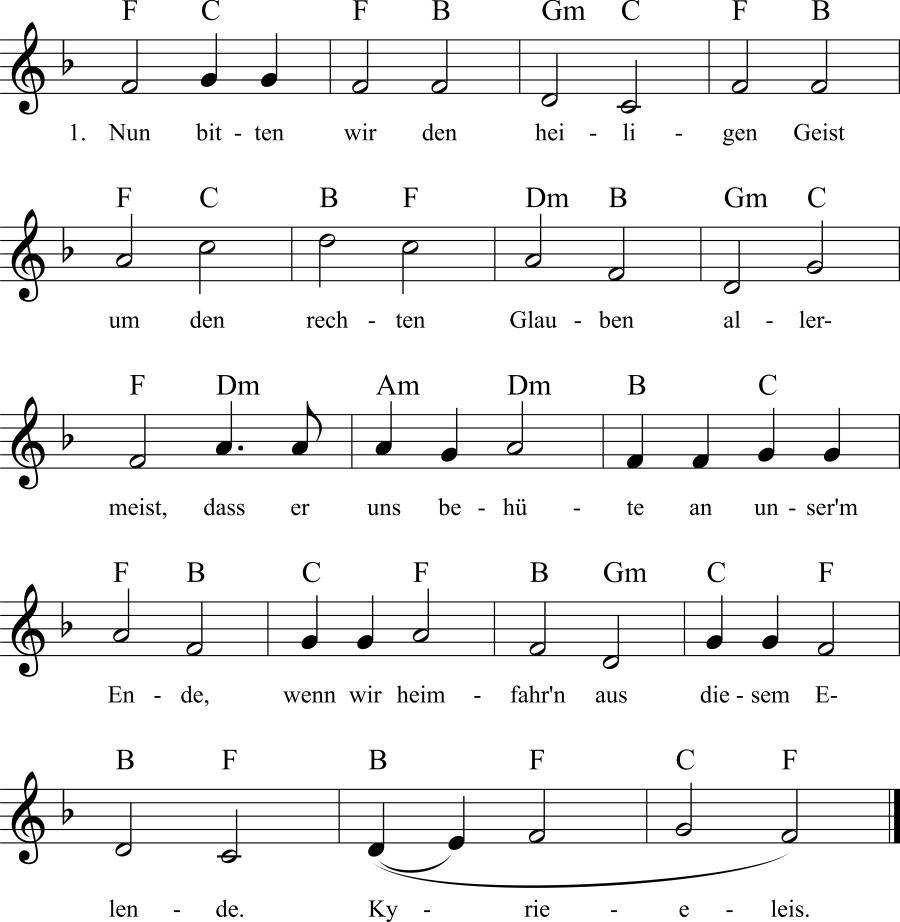 Musiknoten zum Lied Nun bitten wir den heiligen Geist