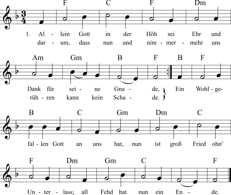 Musiknoten zum Lied Allein Gott in der Höh sei Ehr