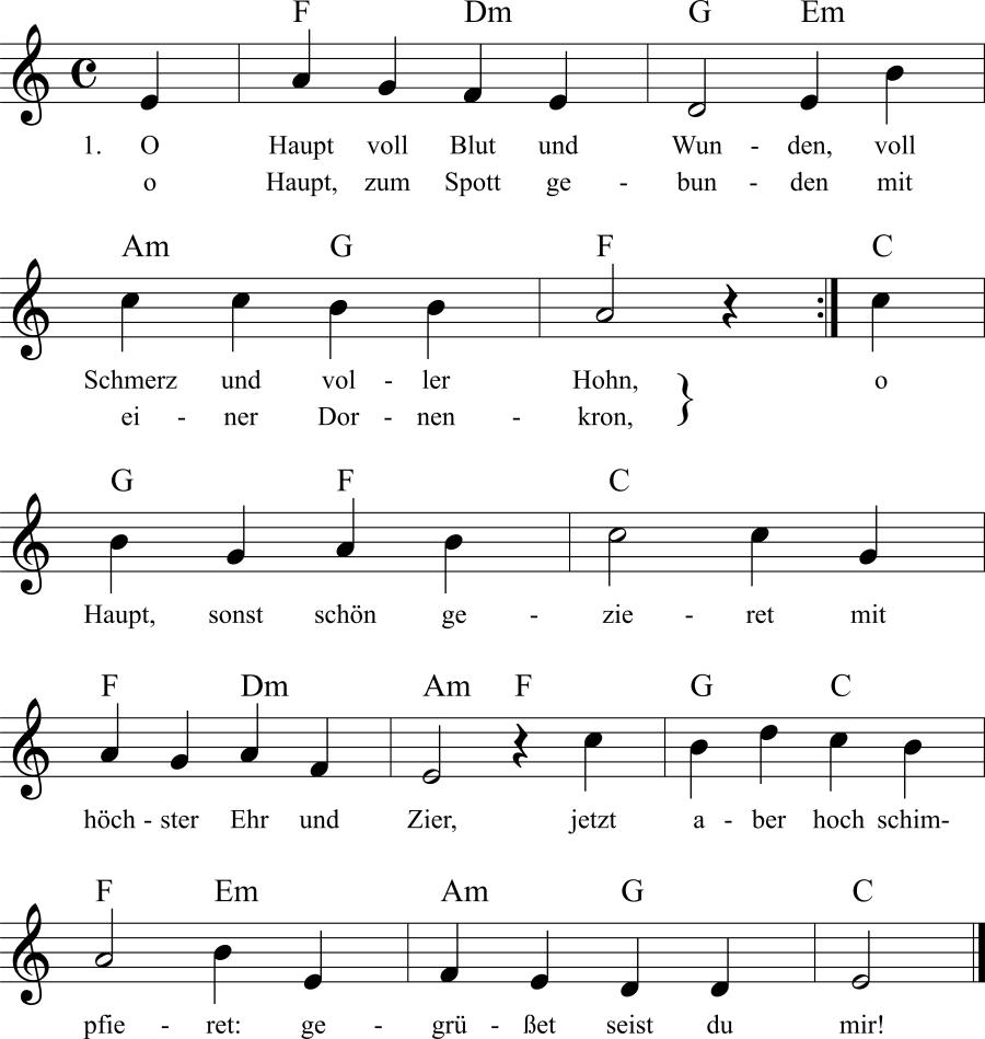 Musiknoten zum Lied O Haupt voll Blut und Wunden