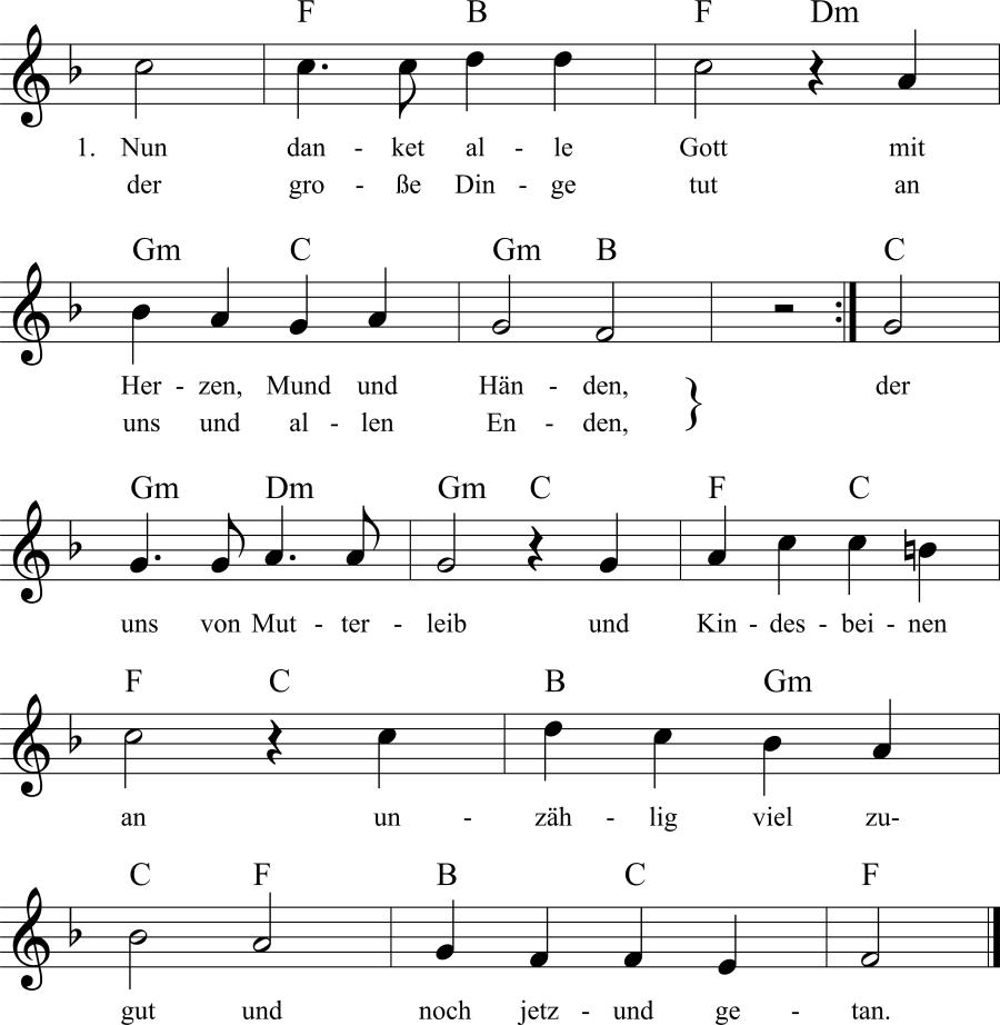 Musiknoten zum Lied Nun danket alle Gott