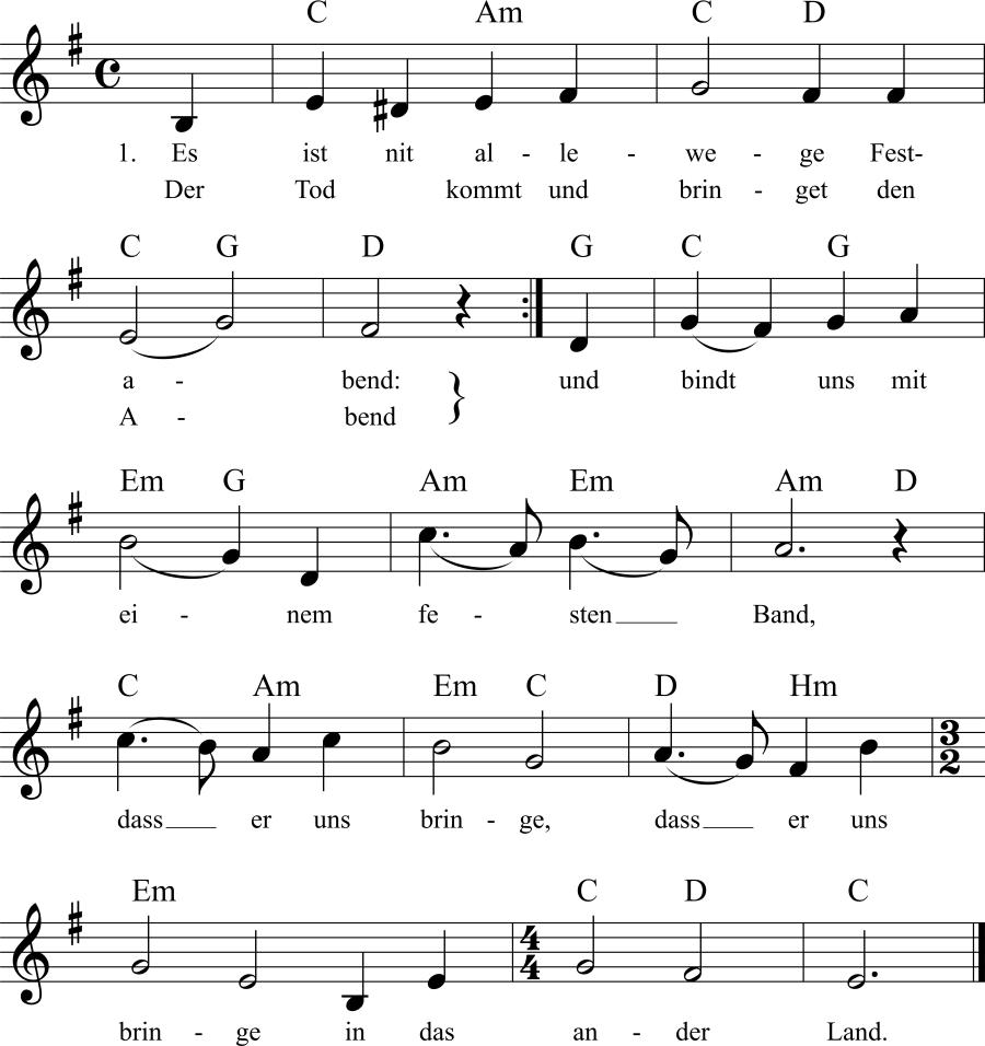 Musiknoten zum Lied Es ist nit allewege Festabend