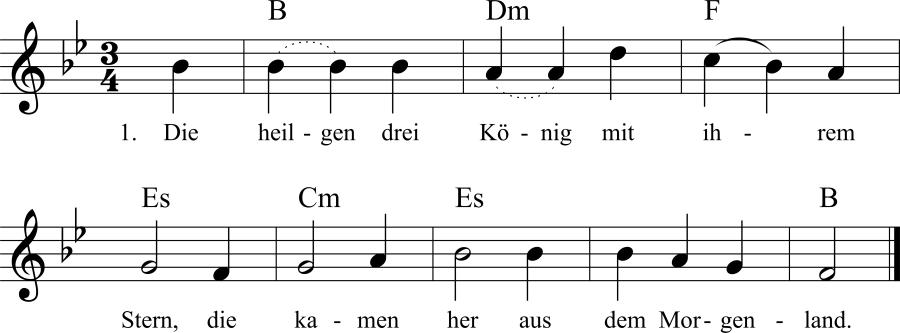 Musiknoten zum Lied Die heilgen drei König mit ihrem Stern