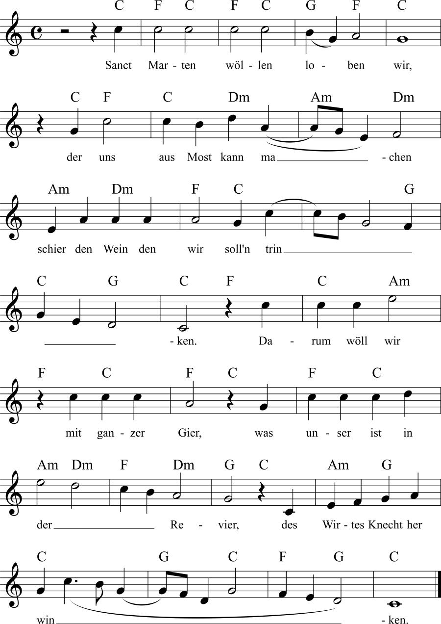 Musiknoten zum Lied Martinslied