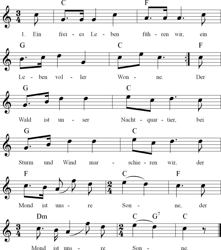Musiknoten zum Lied Ein freies Leben führen wir