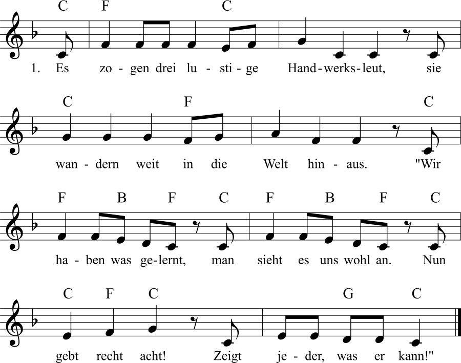 Musiknoten zum Lied Es zogen drei lustige Handwerksleut