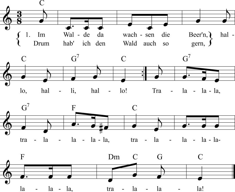 Musiknoten zum Lied Im Walde da wachsen die Beer'n