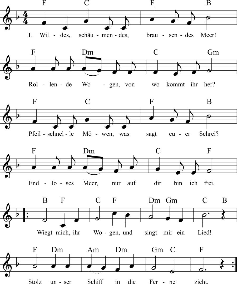 Musiknoten zum Lied Wiegt mich, ihr Wogen