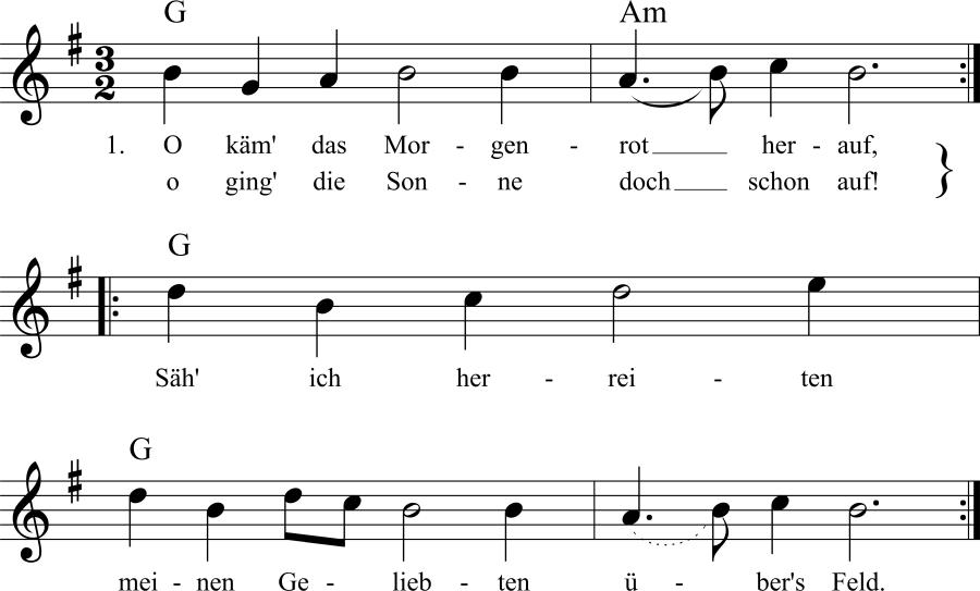 Musiknoten zum Lied O kam' das Morgenrot herauf