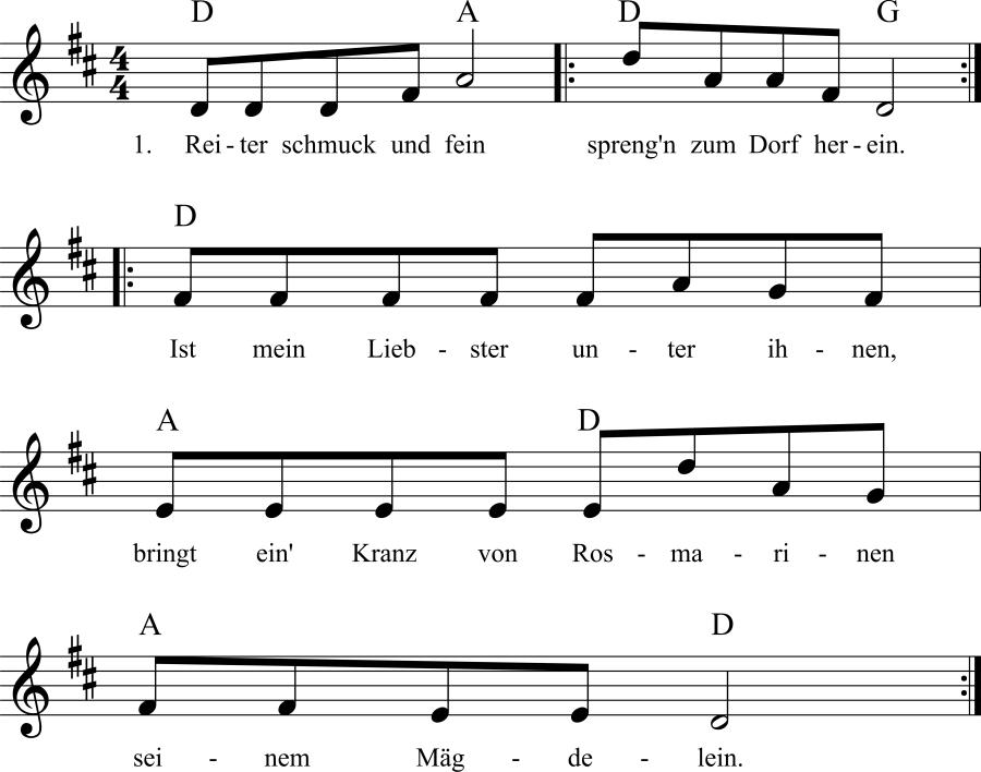 Musiknoten zum Lied Reiter schmuck und fein