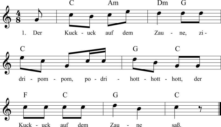Musiknoten zum Lied Der Kuckuck auf dem Zaune