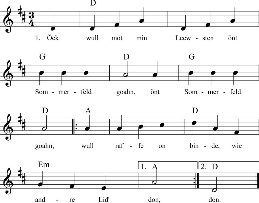 Musiknoten zum Lied Öck wull möt min Leewsten