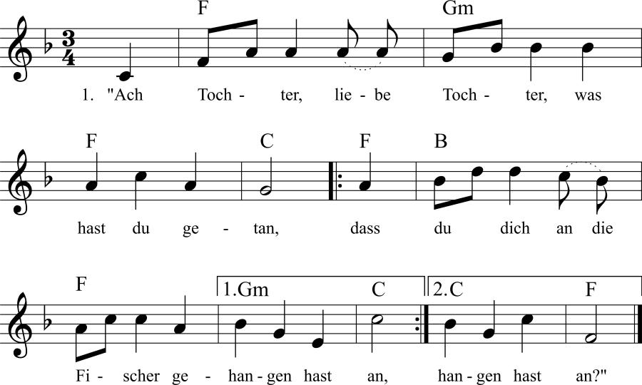 Musiknoten zum Lied Die Fischersbraut