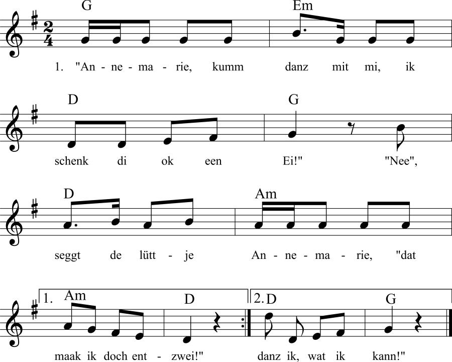 Musiknoten zum Lied Annemarie, kumm danz mit mi
