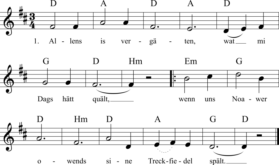 Musiknoten zum Lied Allens is vergäten