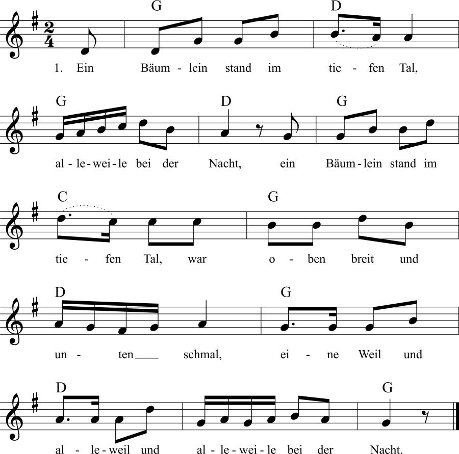 Musiknoten zum Lied Ein Bäumlein stand im tiefen Tal