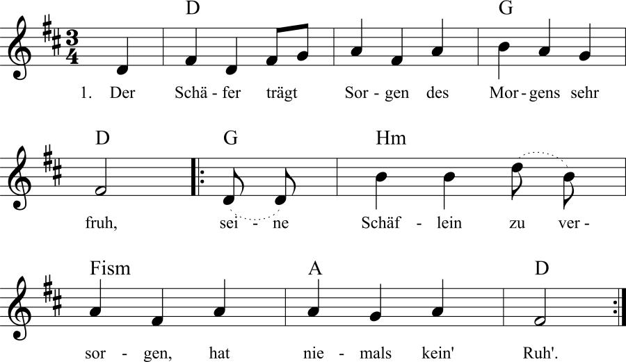 Musiknoten zum Lied Der Schäfer trägt Sorgen