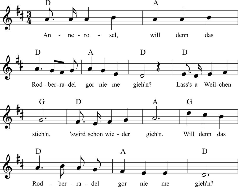 Musiknoten zum Lied Annerosel, will denn das Rodberradel