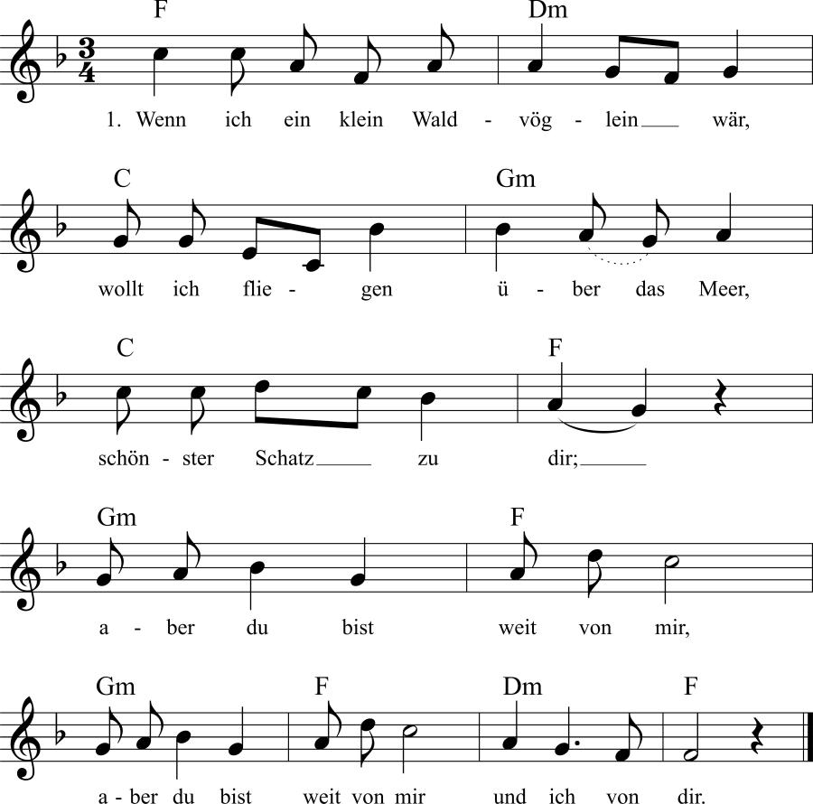 Musiknoten zum Lied Wenn ich ein klein Waldvöglein wär