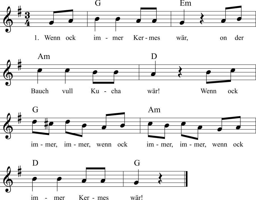 Musiknoten zum Lied Wenn ock immer Kermes war