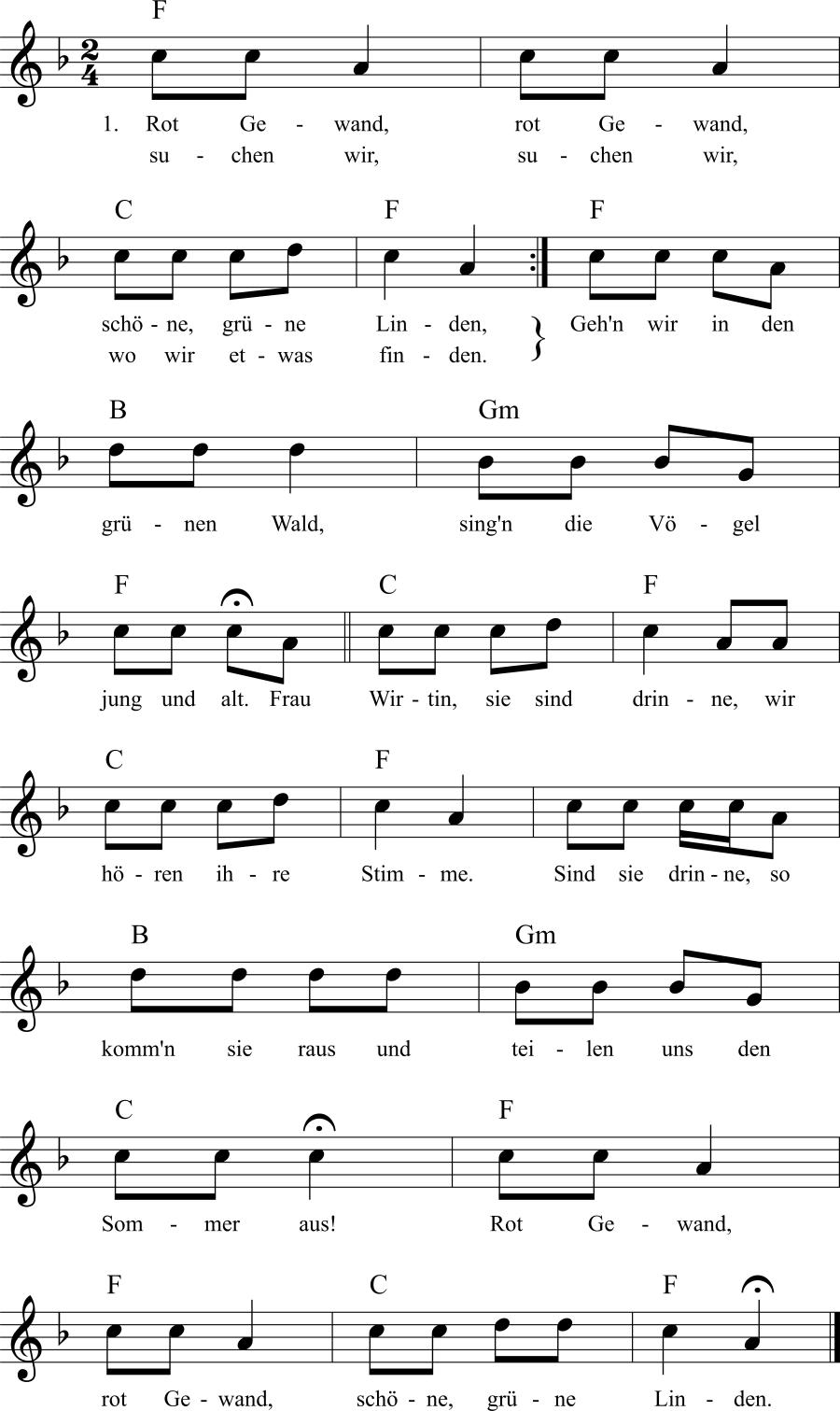 Musiknoten zum Lied Rot Gewand
