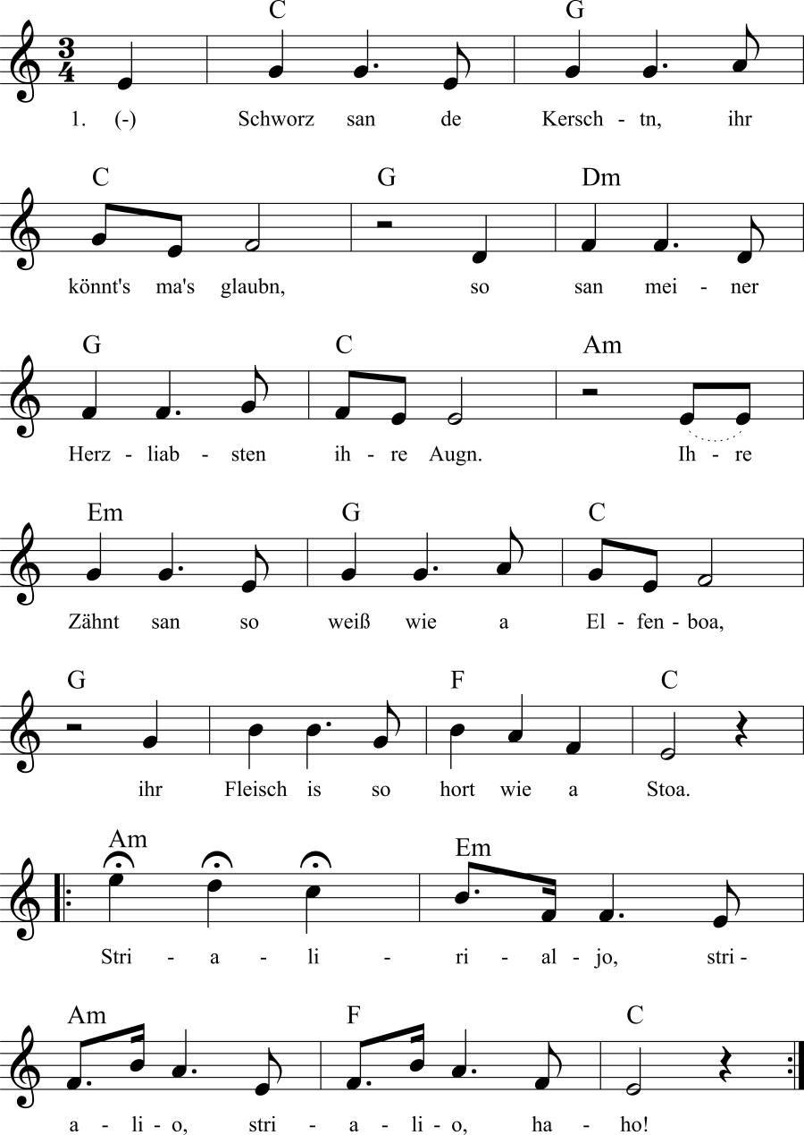Musiknoten zum Lied Schworz san de Kerschtn