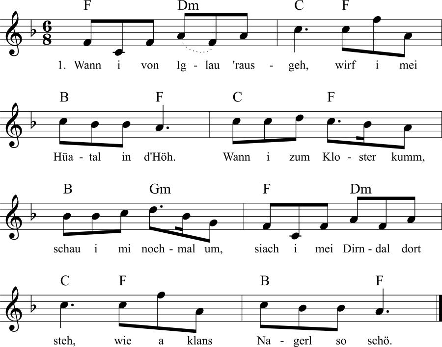 Musiknoten zum Lied Wann i von Iglau 'rausgeh