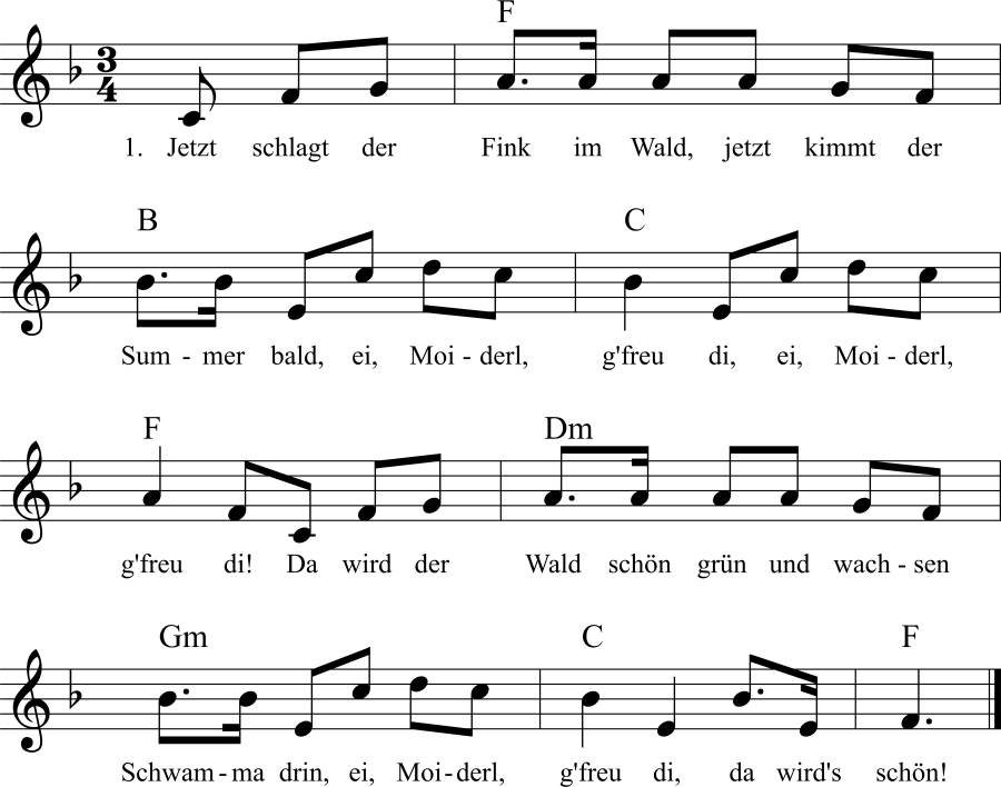 Musiknoten zum Lied Jetzt schlagt der Fink im Wald