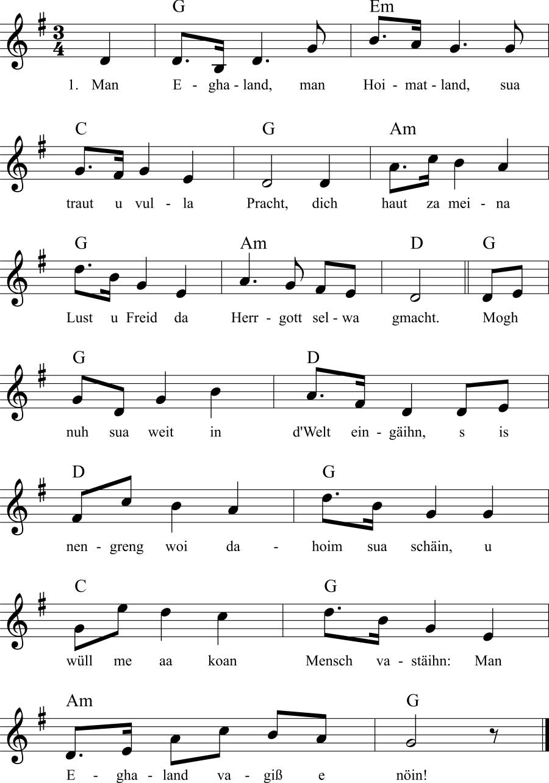 Musiknoten zum Lied Man Eghaland, man Hoimatland