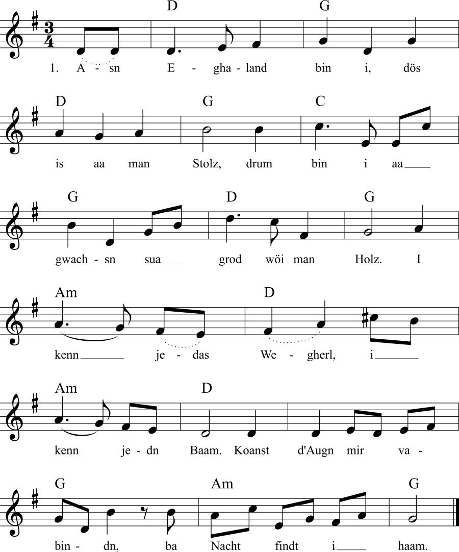 Musiknoten zum Lied Asn Eghaland bin i