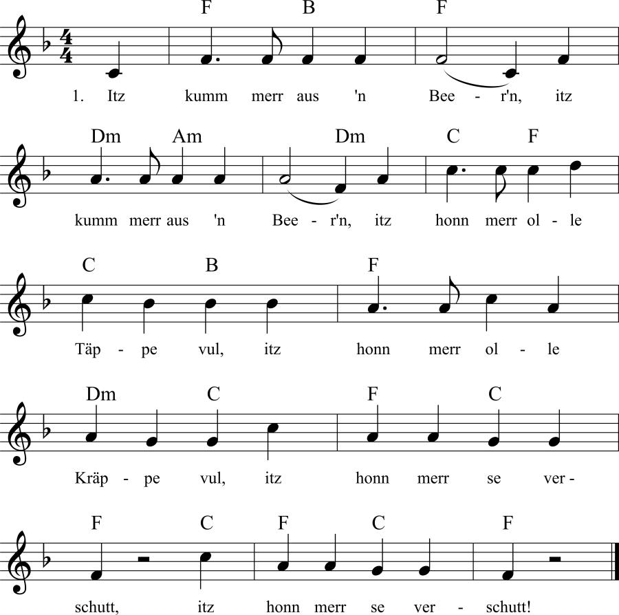 Musiknoten zum Lied Itz kumm merr aus'n Beer'n