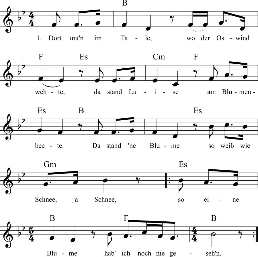 Musiknoten zum Lied Dort unt'n im Tale, wo der Ostwind wehte