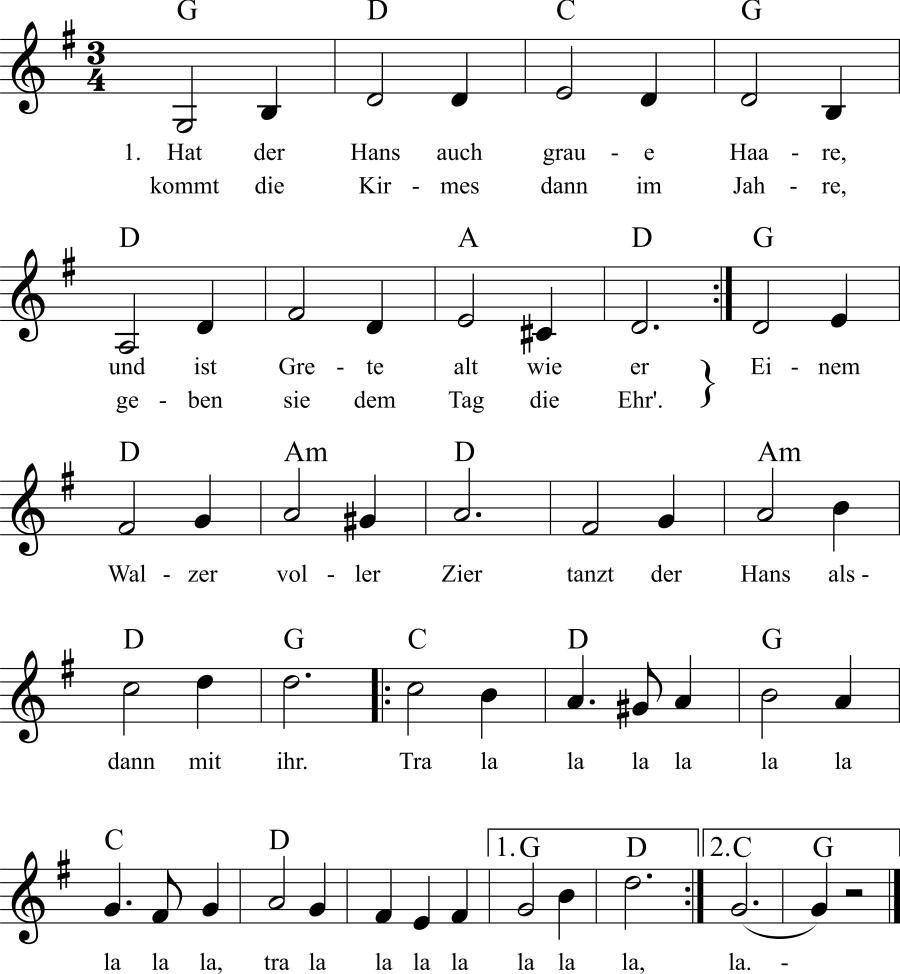 Musiknoten zum Lied Hat der Hans auch graue Haare