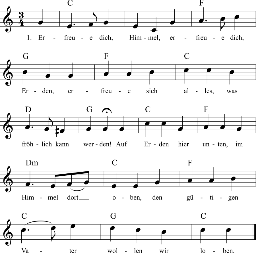 Musiknoten zum Lied Erfreue dich, Himmel