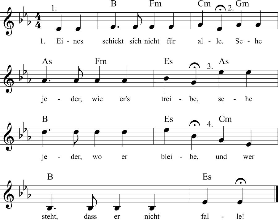 Musiknoten zum Lied Eines schickt sich nicht für alle