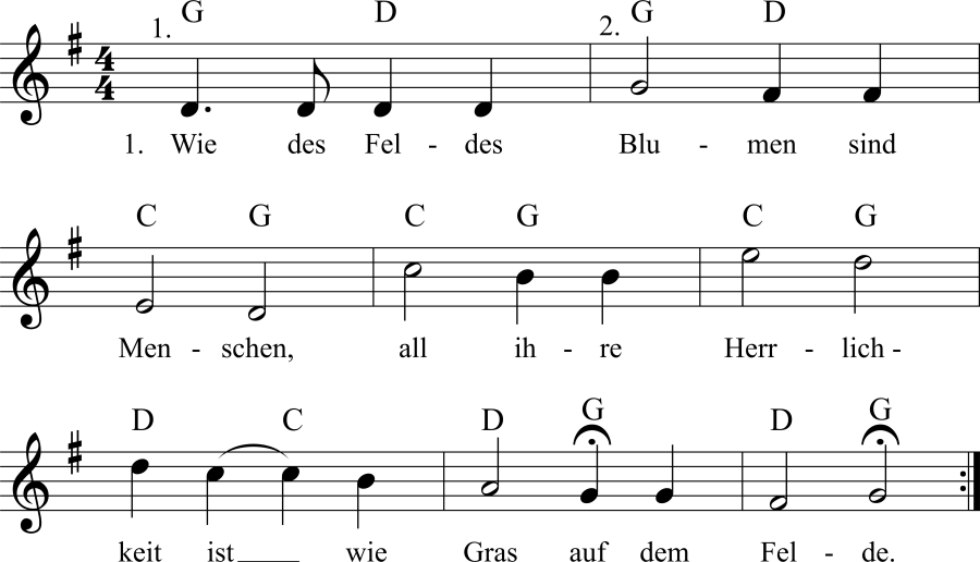 Musiknoten zum Lied Wie des Feldes Blumen sind Menschen