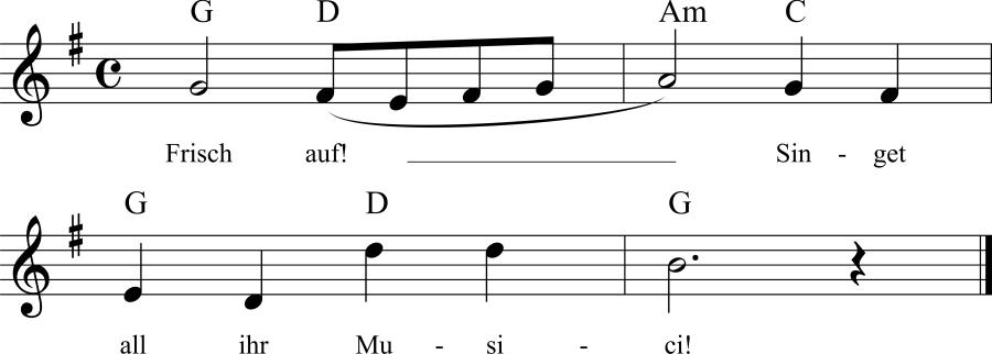 Musiknoten zum Lied Frisch auf! Singet ihr Musici!