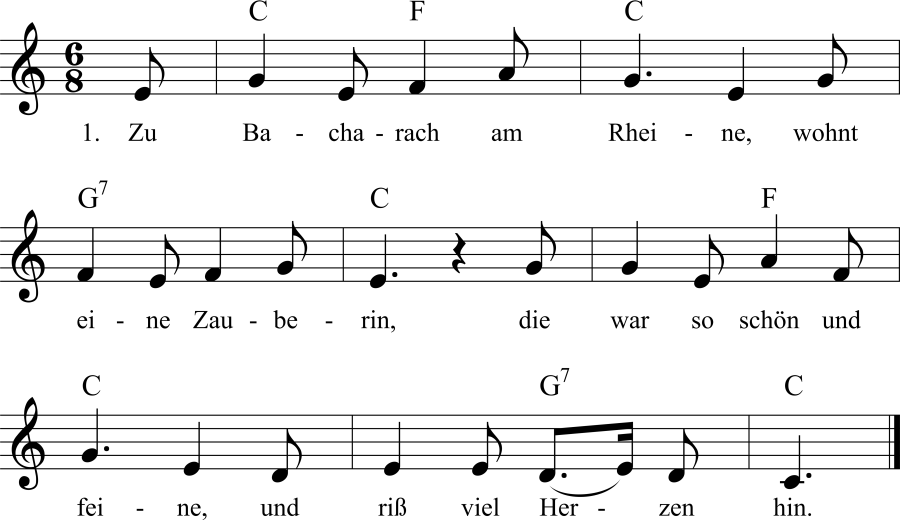 Musiknoten zum Lied Lore Lay, die Zauberin