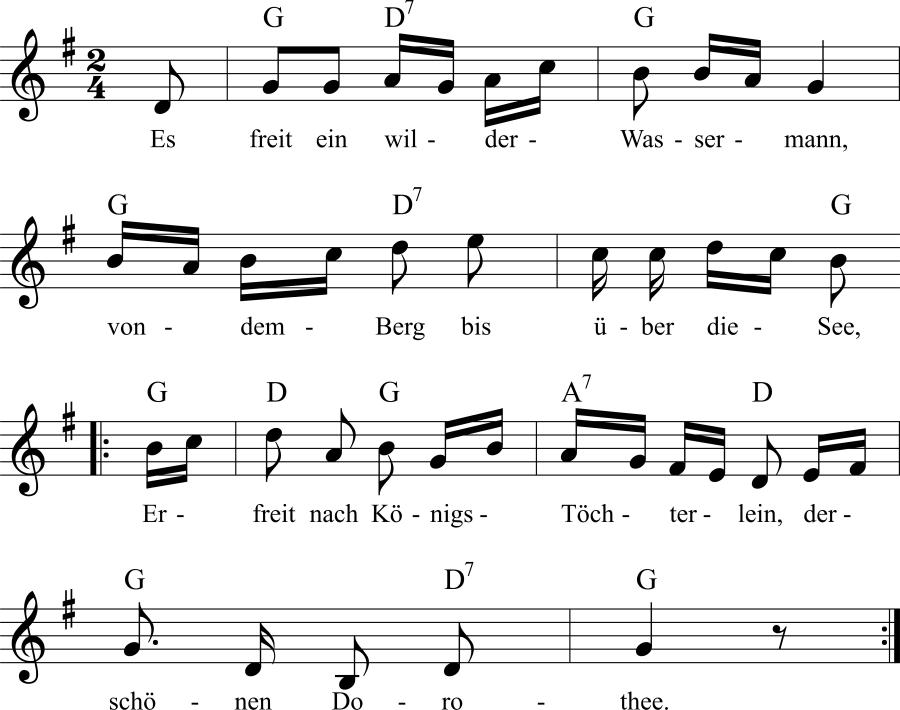 Musiknoten zum Lied Der wilde Wassermann