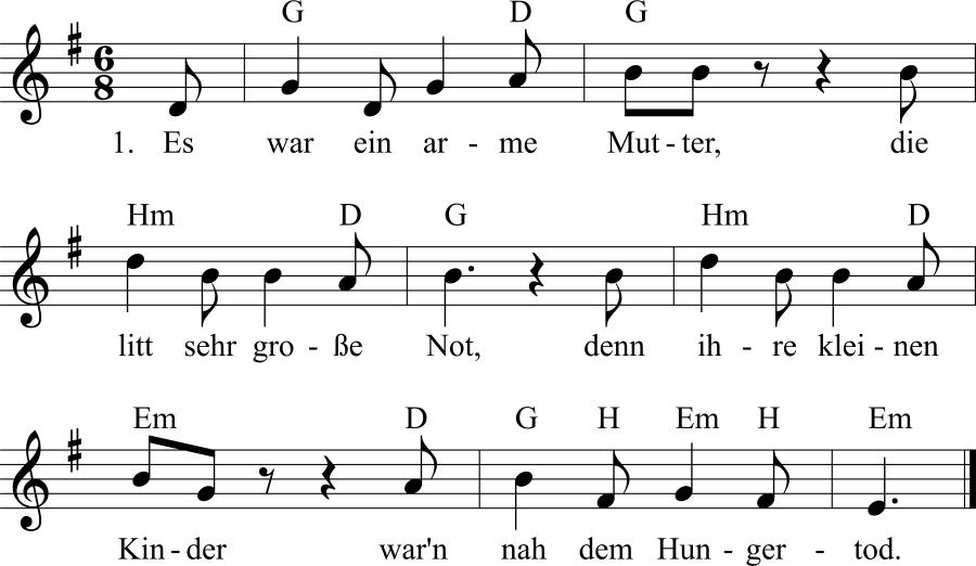 Musiknoten zum Lied Das steinerne Brot