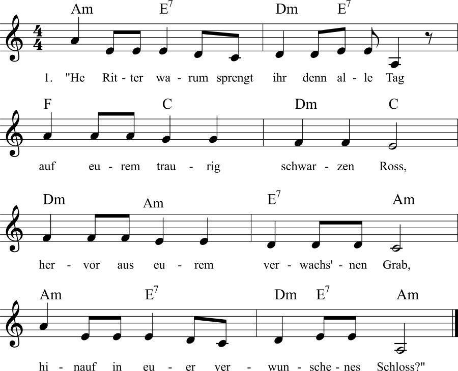 Musiknoten zum Lied Der Gespensterreiter