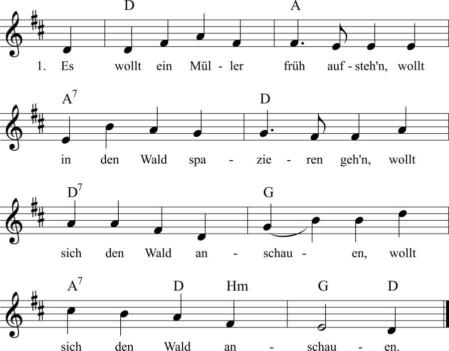 Musiknoten zum Lied Drei Räuber und drei Mörder