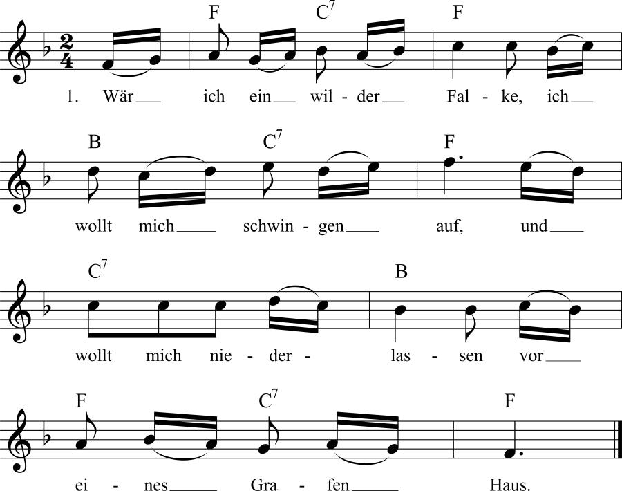 Musiknoten zum Lied Wär ich ein wilder Falke