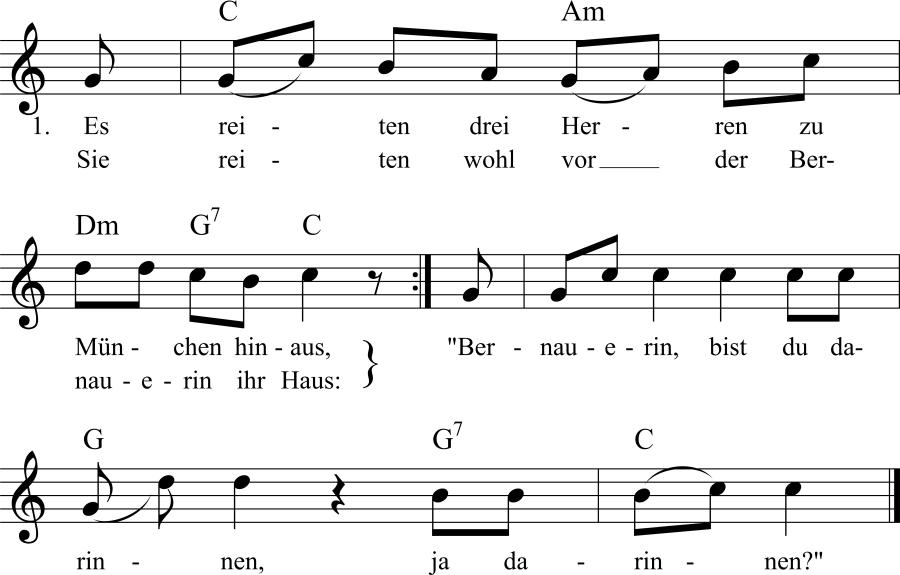 Musiknoten zum Lied Die schöne Bernauerin