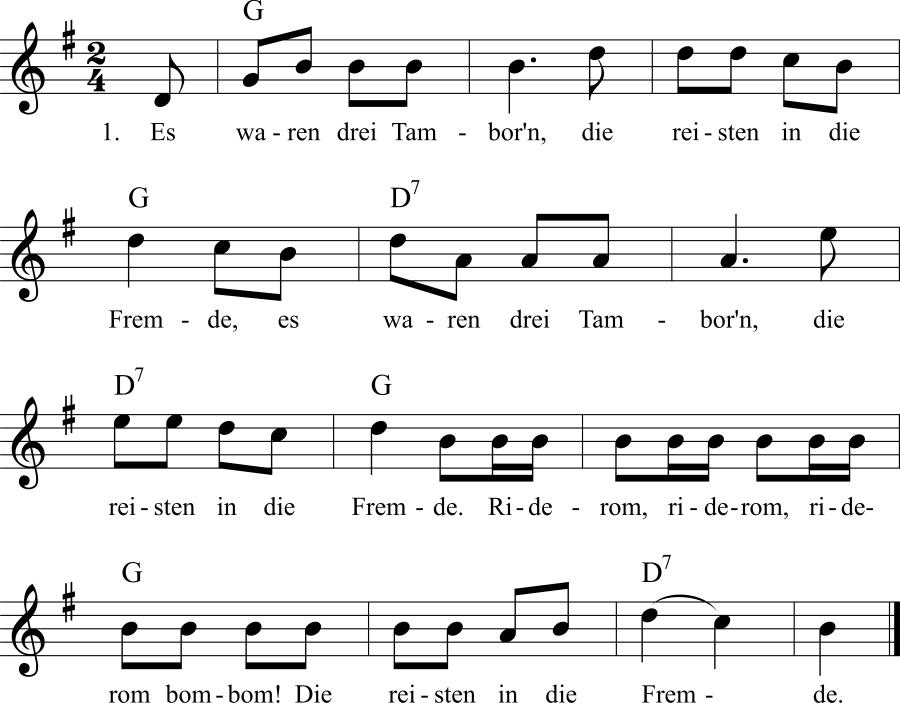 Musiknoten zum Lied Der Tambour
