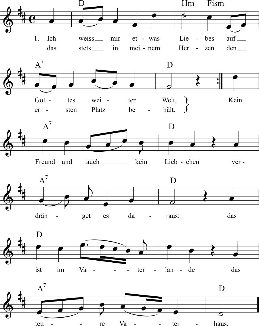 Musiknoten zum Lied Das Vaterhaus