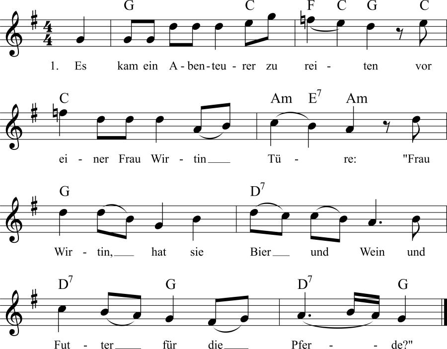 Musiknoten zum Lied Die wiedergefundene Schwester