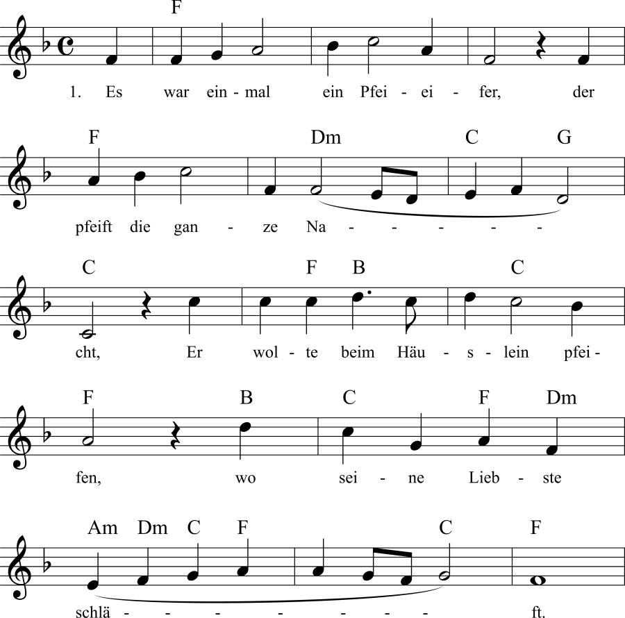 Musiknoten zum Lied Es war einmal ein Pfeifer