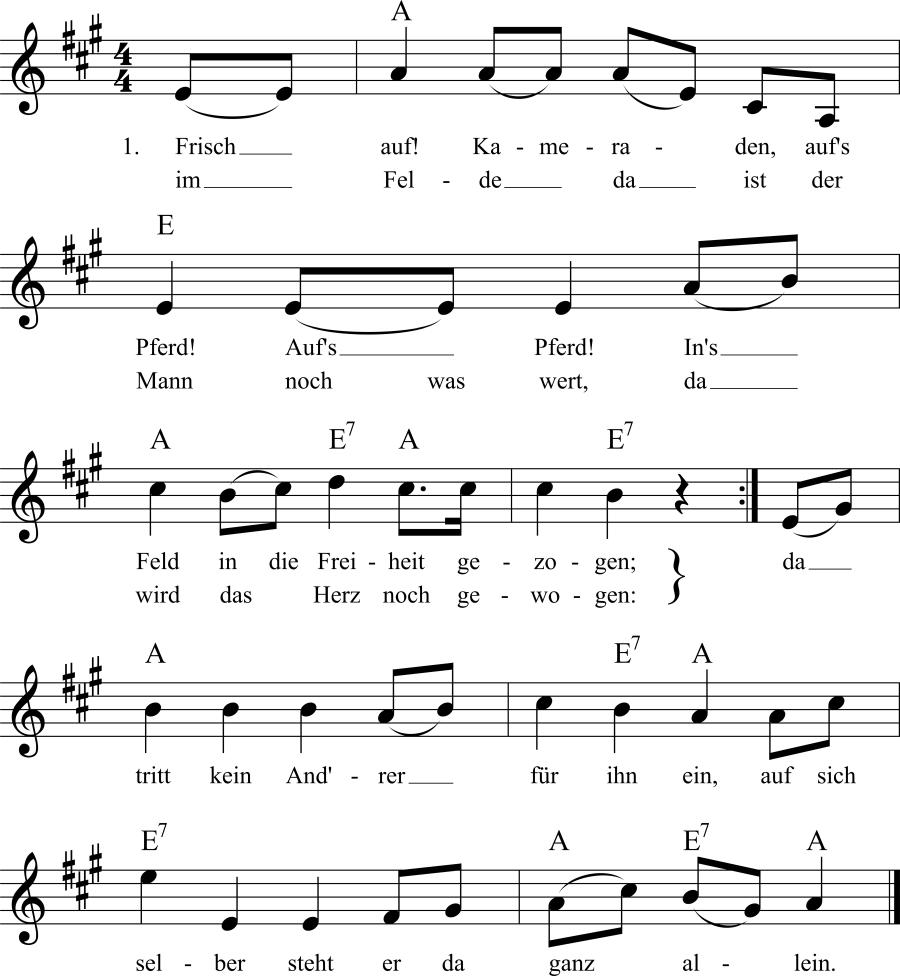 Musiknoten zum Lied Aufs Pferd! Aufs Pferd!